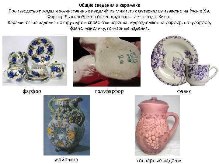Общие сведения о керамике Производство посуды и хозяйственных изделий из глинистых материалов известно на