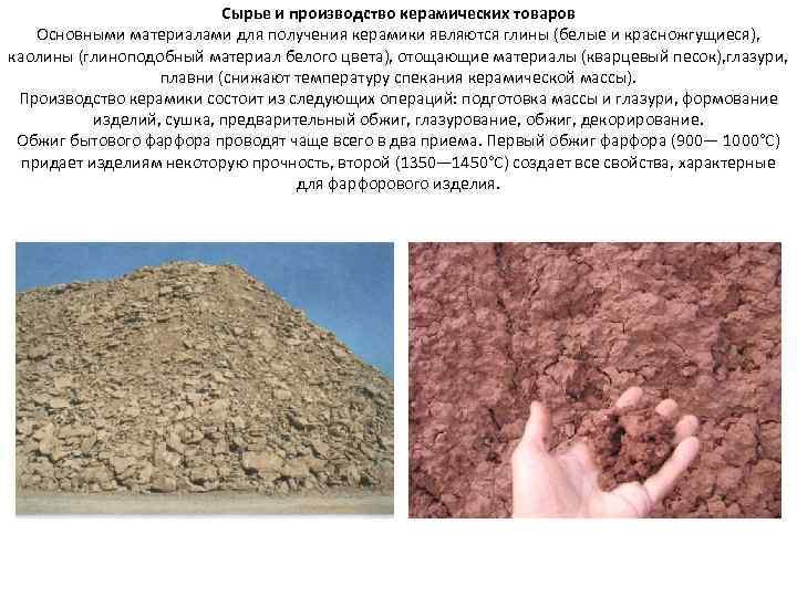 Сырье и производство керамических товаров Основными материалами для получения керамики являются глины (белые и