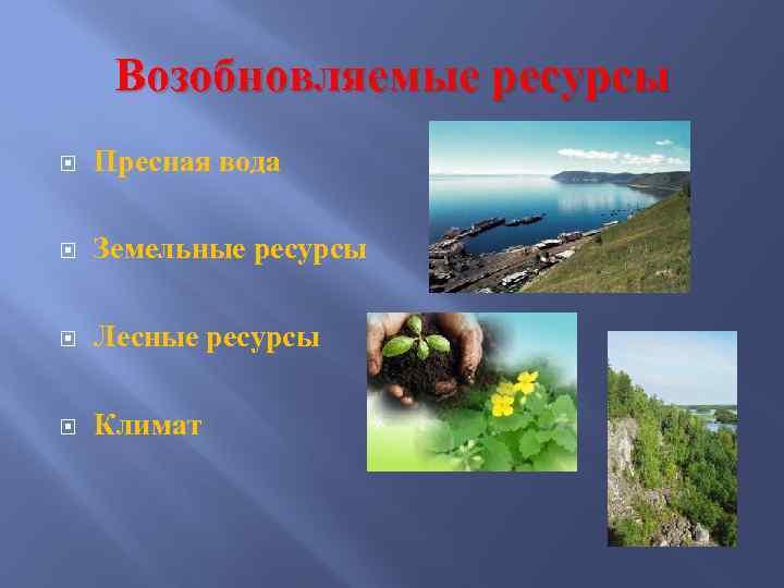 Возобновляемые ресурсы Пресная вода Земельные ресурсы Лесные ресурсы Климат