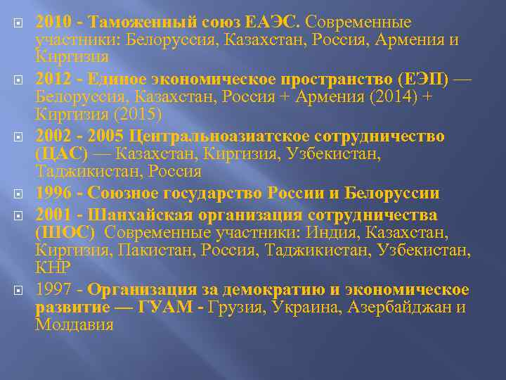 2010 - Таможенный союз ЕАЭС. Современные участники: Белоруссия, Казахстан, Россия, Армения и Киргизия