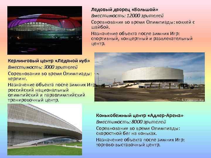 Ледовый дворец «Большой» Вместимость: 12000 зрителей Соревнования во время Олимпиады: хоккей с шайбой. Назначение