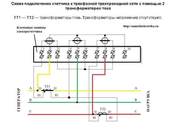 Схема подключения счетчика к трехфазной трехпроводной сети с помощью 2 трансформаторов тока ТТ 1