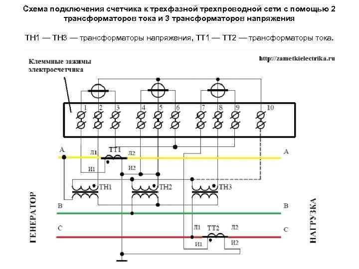 Схема подключения счетчика к трехфазной трехпроводной сети с помощью 2 трансформаторов тока и 3