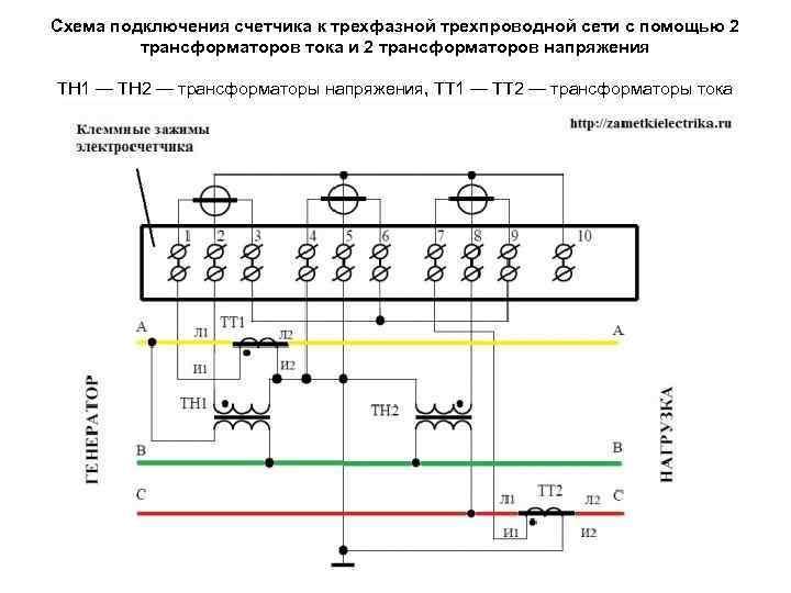 Схема подключения счетчика к трехфазной трехпроводной сети с помощью 2 трансформаторов тока и 2
