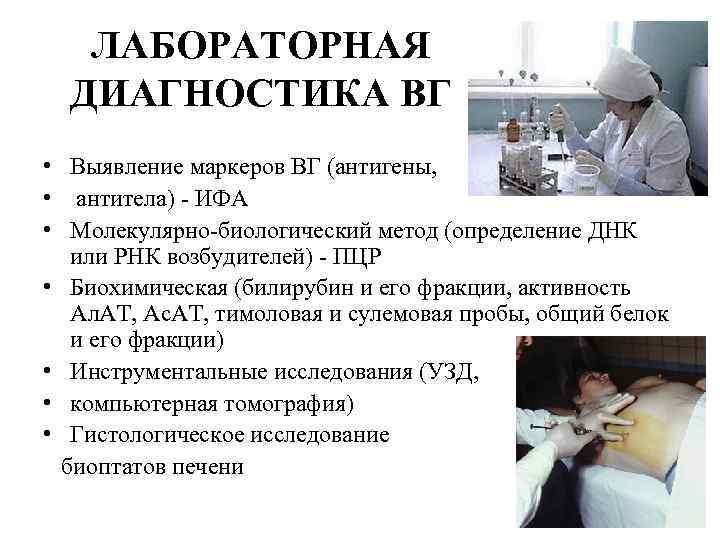 ЛАБОРАТОРНАЯ ДИАГНОСТИКА ВГ • Выявление маркеров ВГ (антигены, • антитела) - ИФА • Молекулярно-биологический