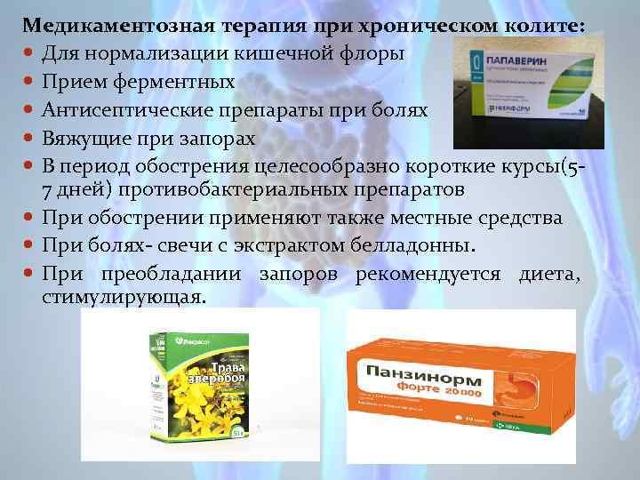 Медикаментозная терапия при хроническом колите: Для нормализации кишечной флоры Прием ферментных Антисептические препараты при
