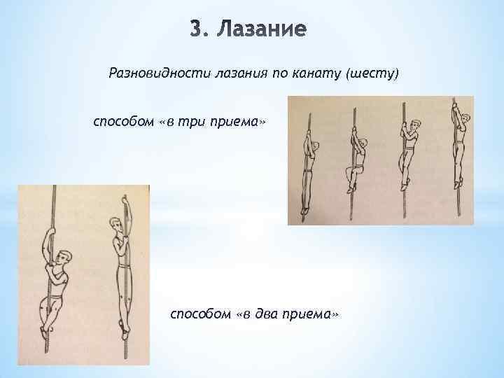 Разновидности лазания по канату (шесту) способом «в три приема» способом «в два приема»