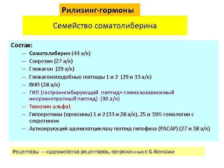 Рилизинг-гормоны Семейство соматолиберина Состав: Соматолиберин (44 а/к) Секретин (27 а/к) Глюкагон (29 а/к) Глюкагоноподобные