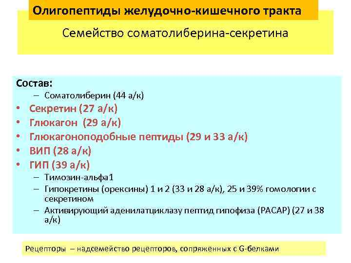 Олигопептиды желудочно-кишечного тракта Семейство соматолиберина-секретина Состав: – Соматолиберин (44 а/к) • • • Секретин