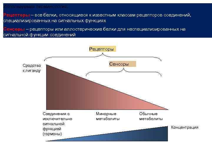 Используемая терминология: Рецепторы – все белки, относящиеся к известным классам рецепторов соединений, специализированных на
