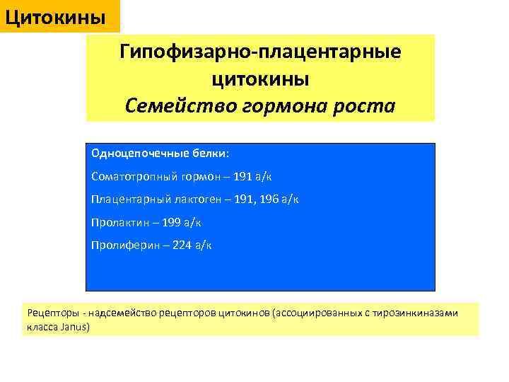 Цитокины Гипофизарно-плацентарные цитокины Семейство гормона роста Одноцепочечные белки: Соматотропный гормон – 191 а/к Плацентарный