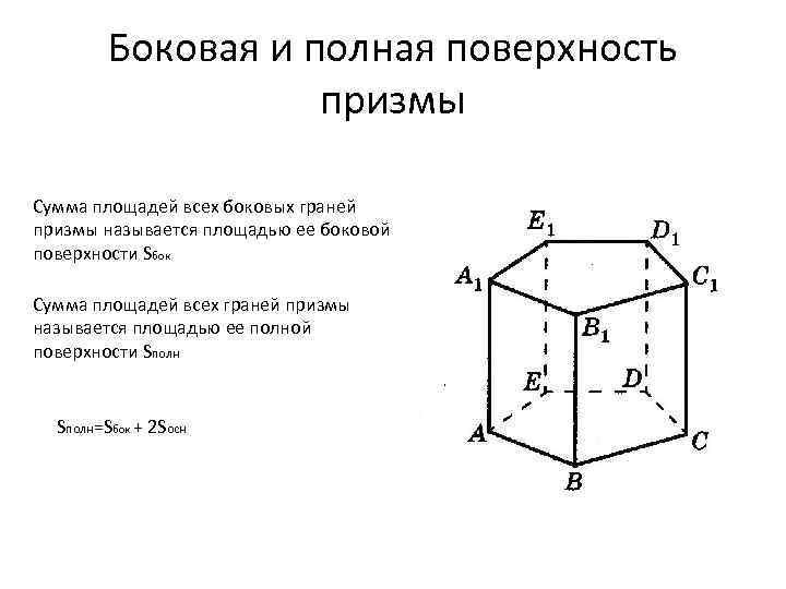 Боковая и полная поверхность призмы Сумма площадей всех боковых граней призмы называется площадью ее