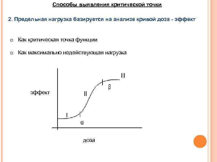 Способы выявления критической точки 2. Предельная нагрузка базируется на анализе кривой доза - эффект