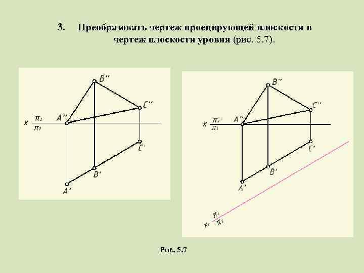 3. Преобразовать чертеж проецирующей плоскости в чертеж плоскости уровня (рис. 5. 7). Рис. 5.