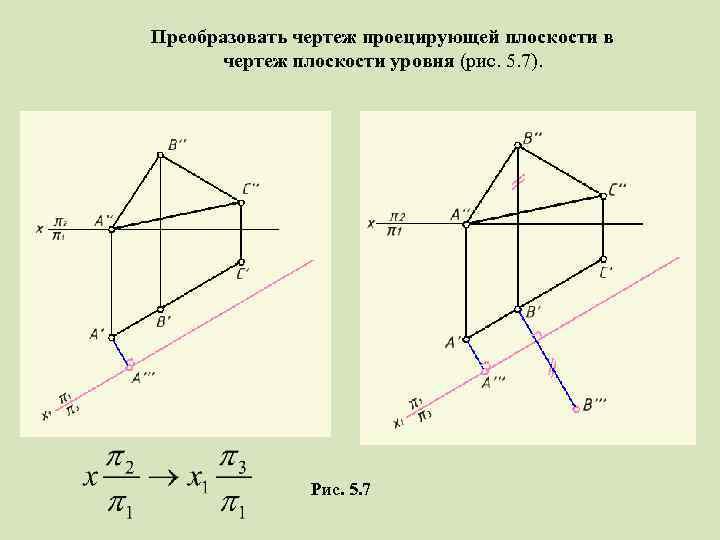 Преобразовать чертеж проецирующей плоскости в чертеж плоскости уровня (рис. 5. 7). Рис. 5. 7