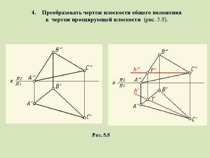 4. Преобразовать чертеж плоскости общего положения в чертеж проецирующей плоскости (рис. 5. 8). Рис.