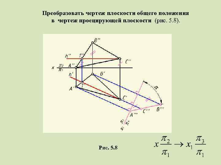 Преобразовать чертеж плоскости общего положения в чертеж проецирующей плоскости (рис. 5. 8). Рис. 5.