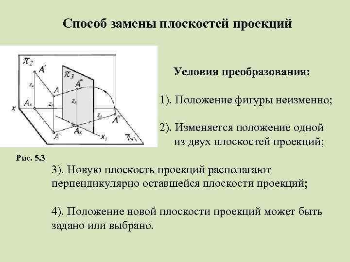 Способ замены плоскостей проекций Условия преобразования: 1). Положение фигуры неизменно; 2). Изменяется положение одной
