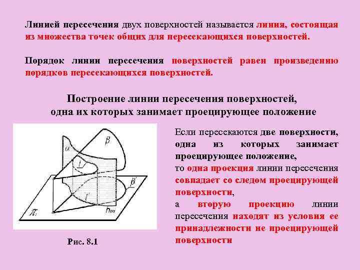 Линией пересечения двух поверхностей называется линия, состоящая из множества точек общих для пересекающихся поверхностей.