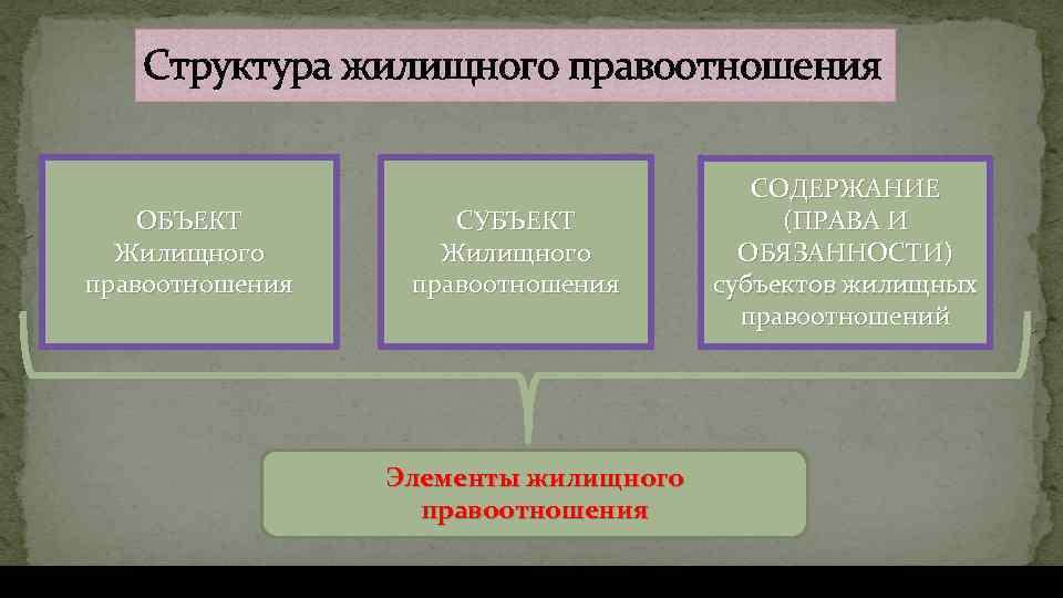 виды жилищных правоотношений схема