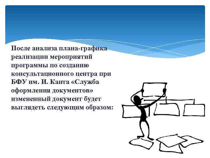 После анализа плана-графика реализации мероприятий программы по созданию консультационного центра при БФУ им. И.