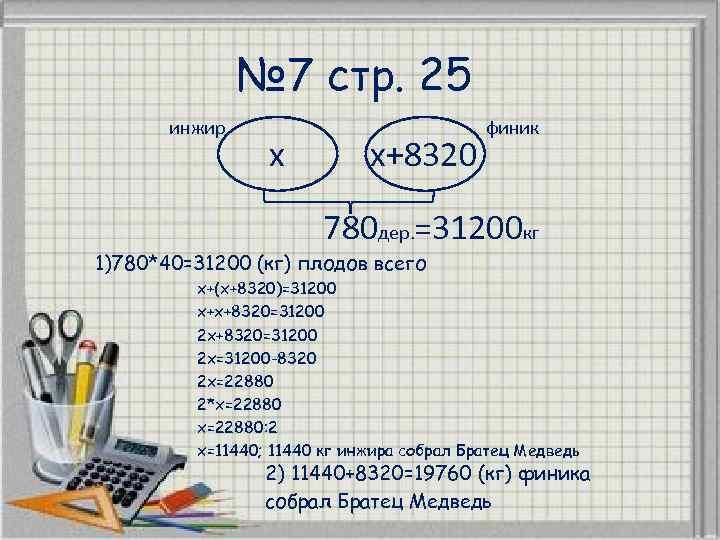 № 7 стр. 25 инжир x x+8320 финик 780 дер. =31200 кг 1)780*40=31200 (кг)