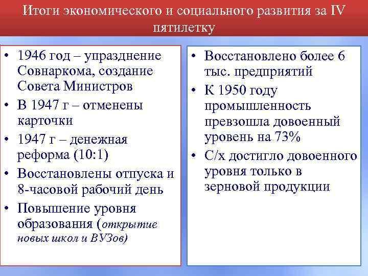 Итоги экономического и социального развития за IV пятилетку • 1946 год – упразднение Совнаркома,