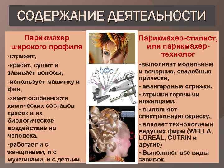 СОДЕРЖАНИЕ ДЕЯТЕЛЬНОСТИ Парикмахер широкого профиля -стрижет, -красит, сушит и завивает волосы, -использует машинку и