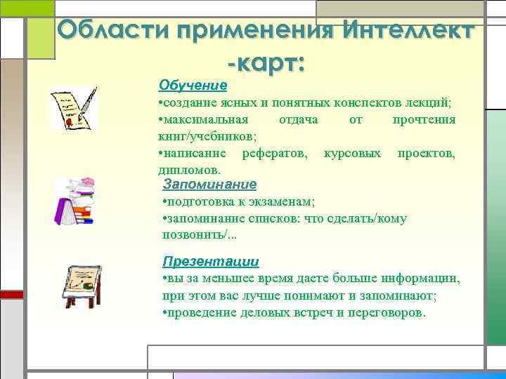 Области применения Интеллект -карт: Обучение • создание ясных и понятных конспектов лекций; • максимальная