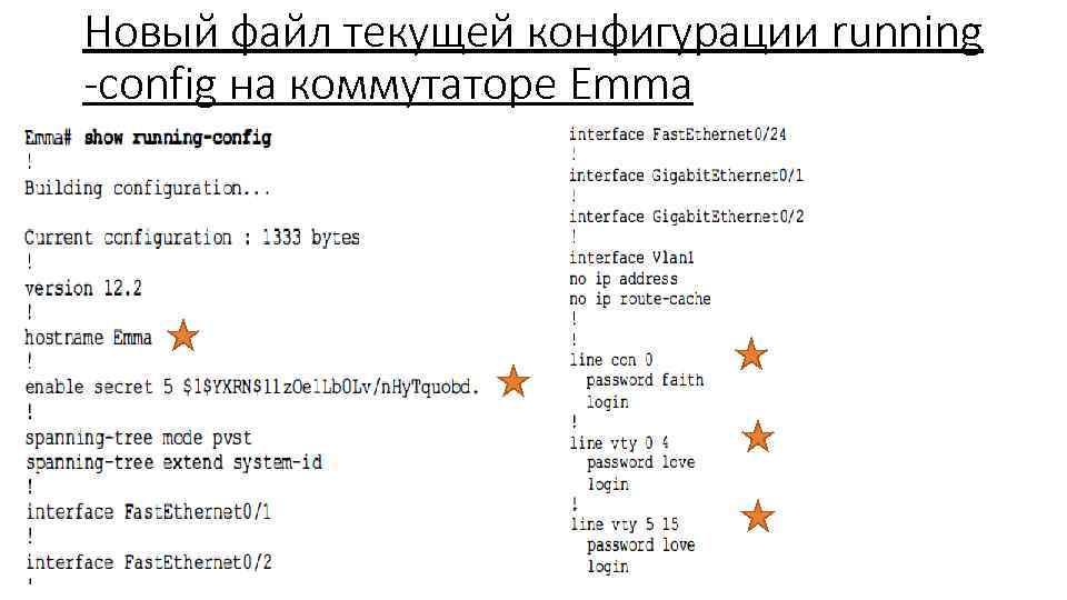 Новый файл текущей конфигурации running -config на коммутаторе Emma