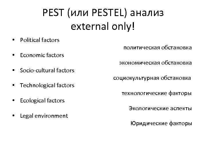 pestel factors Today's world is a rapidly changing place developments across a series of factors will have an impact on a business or industry the standard pest structure.