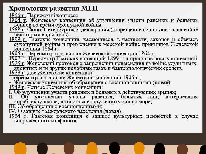 Хронология развития МГП 1856 г. Парижский конгресс 1864 г. Женевская конвенция об улучшении участи