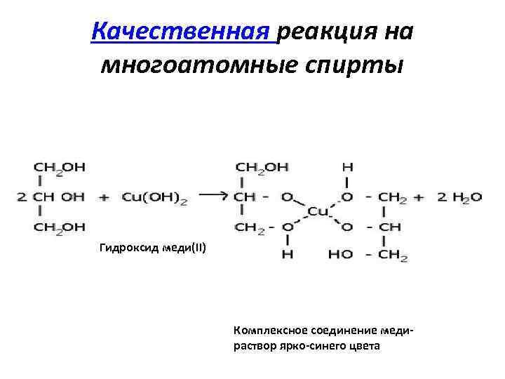 Качественные реакции на многоатомные спирты и альдегиды
