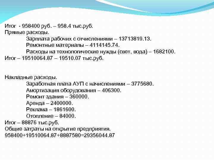 Итог - 958400 руб. – 958. 4 тыс. руб. Прямые расходы. Зарплата рабочих с