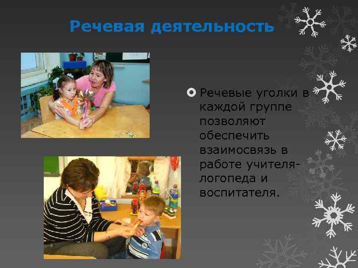 Речевая деятельность Речевые уголки в каждой группе позволяют обеспечить взаимосвязь в работе учителялогопеда и