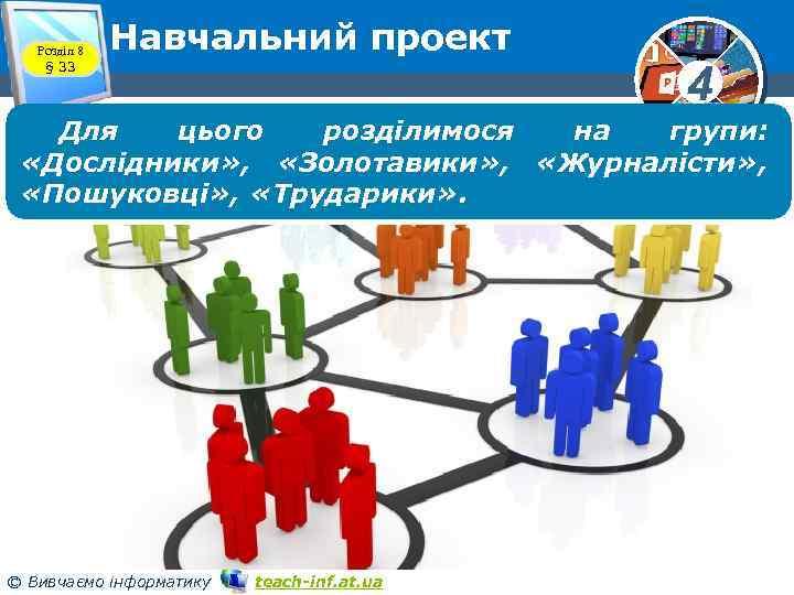 Розділ 8 § 33 Навчальний проект 4 Для цього розділимося на групи: «Дослідники» ,