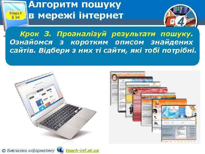 Розділ 8 § 34 Алгоритм пошуку в мережі інтернет 4 Крок З. Проаналізуй результати