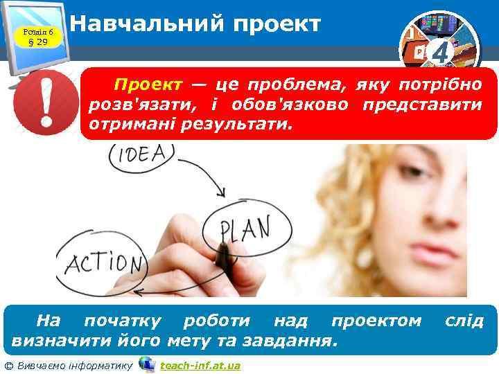 Розділ 6 § 29 Навчальний проект 4 Проект — це проблема, яку потрібно розв'язати,