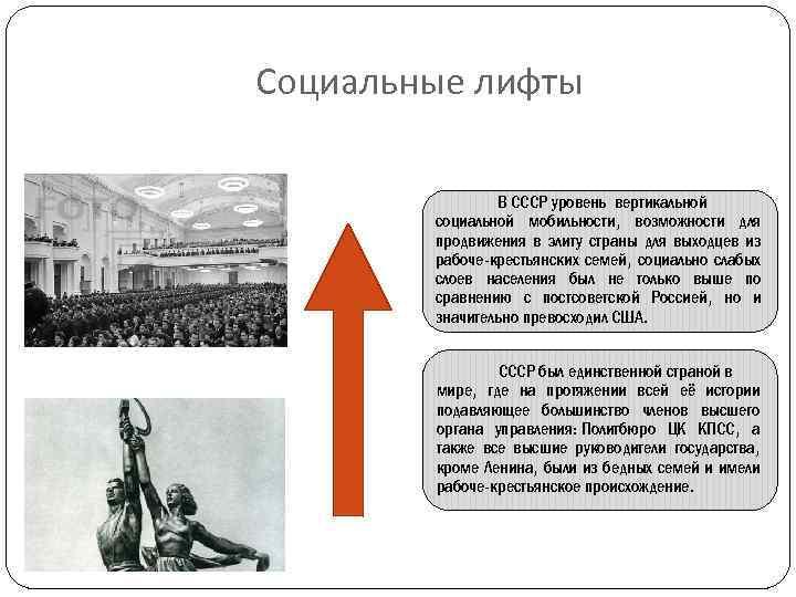 Социальные лифты В СССР уровень вертикальной социальной мобильности, возможности для продвижения в элиту страны