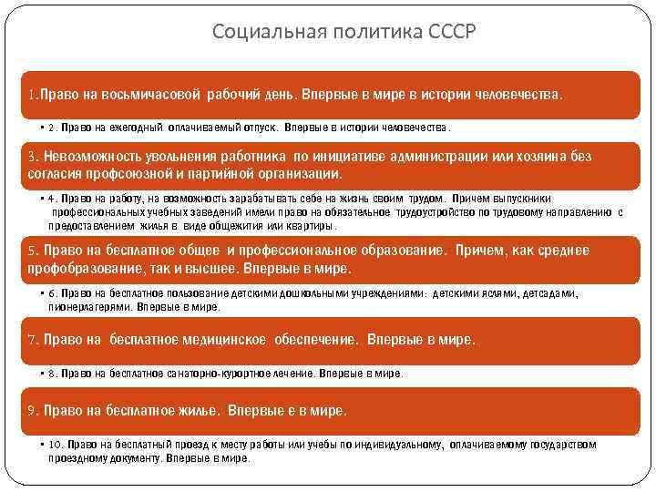 Социальная политика СССР 1. Право на восьмичасовой рабочий день. Впервые в мире в истории