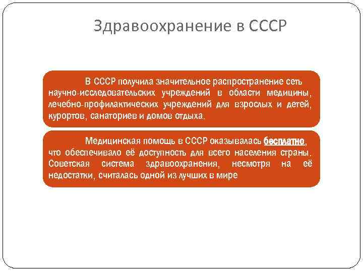 Здравоохранение в СССР В СССР получила значительное распространение сеть научно-исследовательских учреждений в области медицины,
