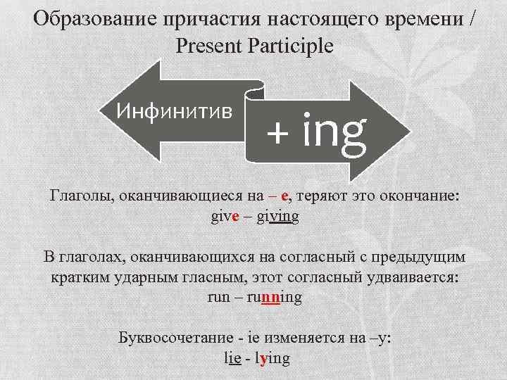 Образование причастия настоящего времени / Present Participle Инфинитив + ing Глаголы, оканчивающиеся на –