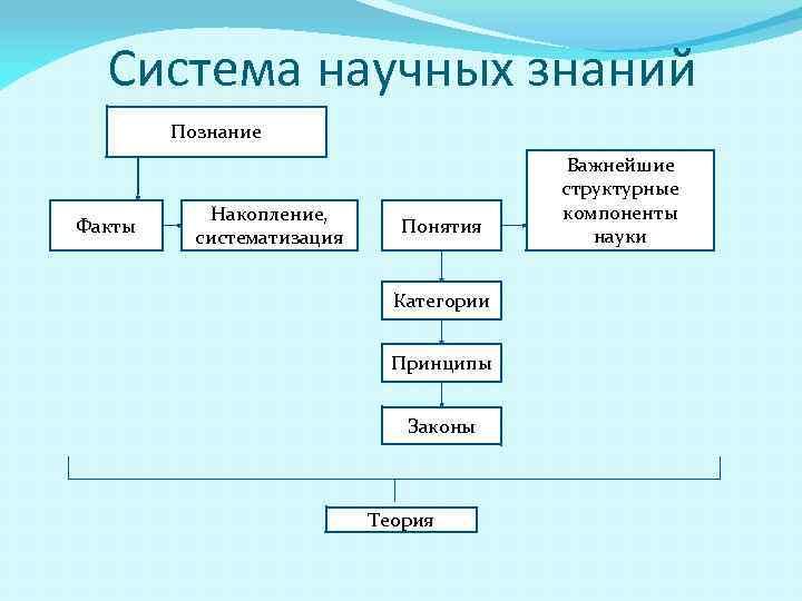 Система научных знаний Познание Факты Накопление, систематизация Понятия Категории Принципы Законы Теория Важнейшие структурные