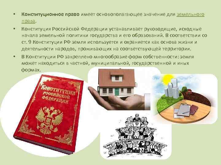в соответствии с конституцией рф земельное
