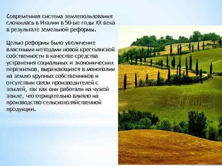 Современная система землепользования сложилась в Италии в 50 -ые годы XX века в результате