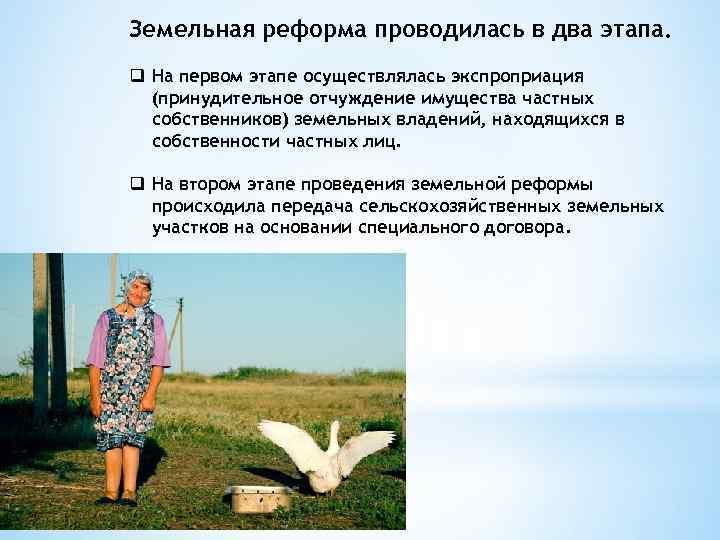 Земельная реформа проводилась в два этапа. q На первом этапе осуществлялась экспроприация (принудительное отчуждение