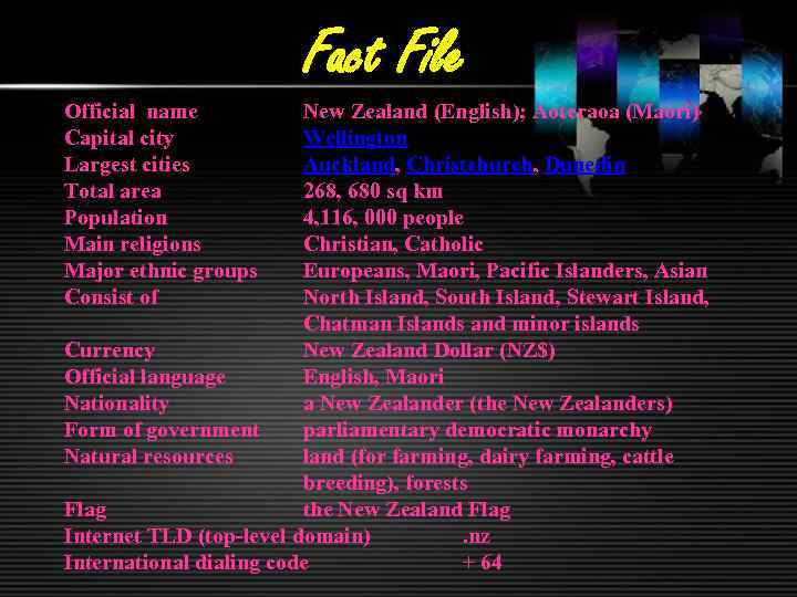Fact File Official name Capital city Largest cities Total area Population Main religions Major