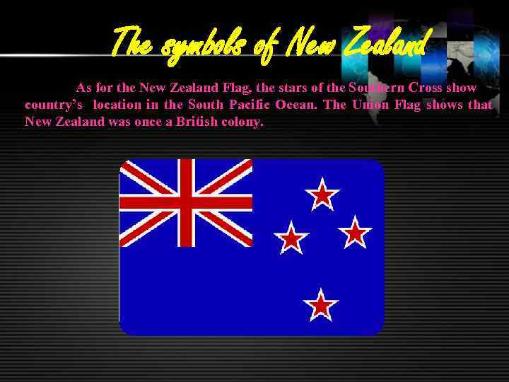 The symbols of New Zealand As for the New Zealand Flag, the stars of
