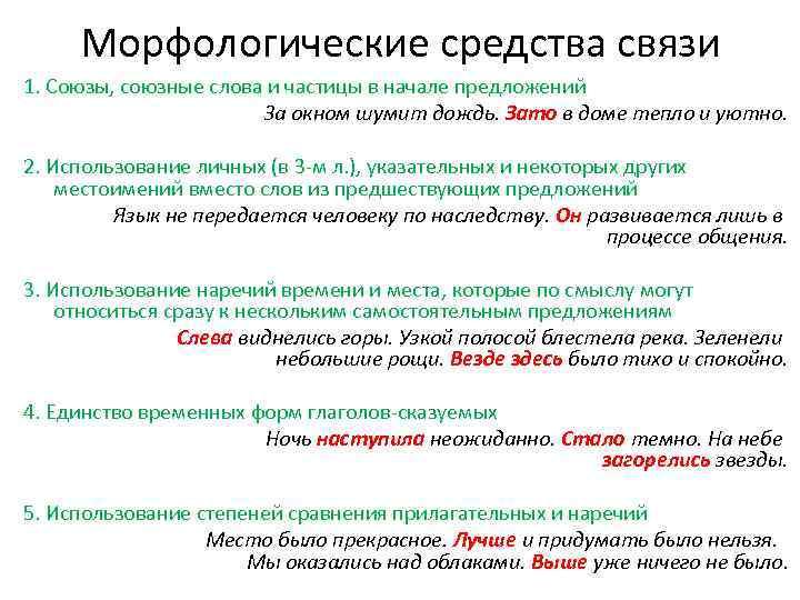 Морфологические средства связи 1. Союзы, союзные слова и частицы в начале предложений За окном