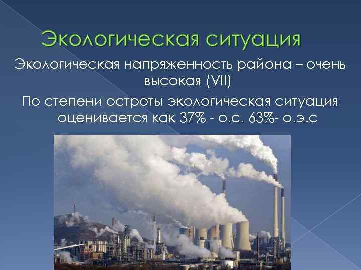 Экологическая ситуация Экологическая напряженность района – очень высокая (VII) По степени остроты экологическая ситуация